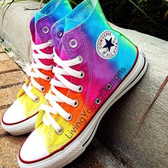 shoes converse chuck taylor all stars all star pastel pastel goth colored dip dyed dye tie dye rainbow yellow orange red purple dark blue light blue green multicolor bright white summer style tumblr low tops