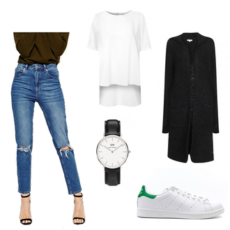 katiquette blogger cardigan outfit white t-shirt adidas shoes ripped jeans