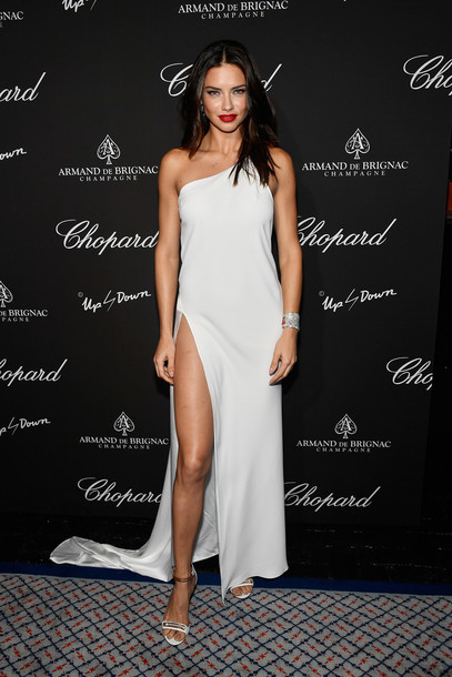 dress gown slit dress prom dress sandals adriana lima one shoulder