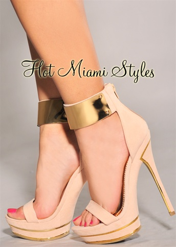 Gold Accent Ankle Cuff High Heel Sandals