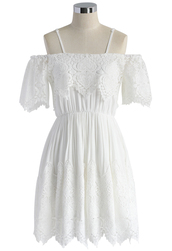 dress,sweet lace cold shoulder dress,chicwish,lace dress,cold shoulder dress,white dress,summer dress,coton dress,white summer dress