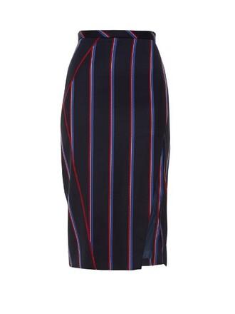 skirt pencil skirt wool navy