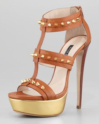 Ruthie Davis Bartley Studded Platform Gladiator Sandal - Neiman Marcus