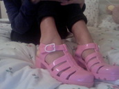 shoes,jellies,pink,holographic