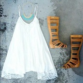 dress,white summer dress,greek goddess,leather wedges,shoes,jewels,brown sandals,leather brown sandals,indian boots,white,white dress,knee high gladiator sandals,cute sandals,aztec style necklace,sundress