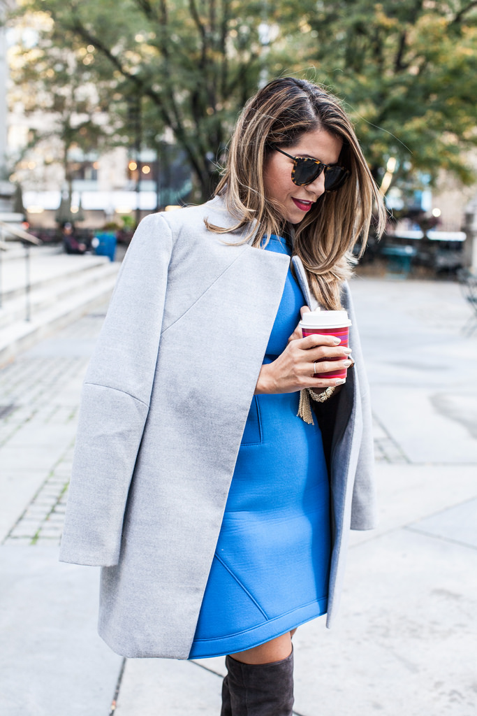 Over the Knee Boots   Oversized Grey Coat |Corporate Catwalk by Olivia | Fashion Blogger in the Corporate World