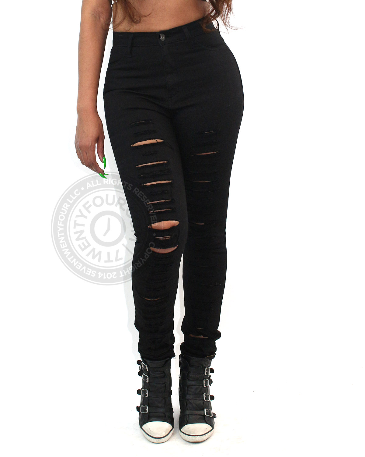 shredded black high waist jeans | edgy clothing | 7twentyfour.com