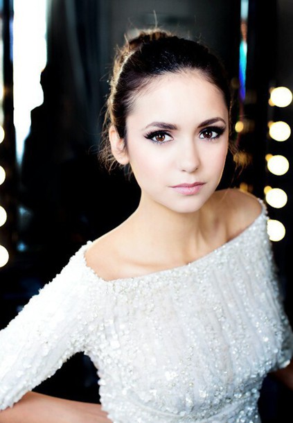 nina dobrev white off the shoulder sweater embroidered eye makeup