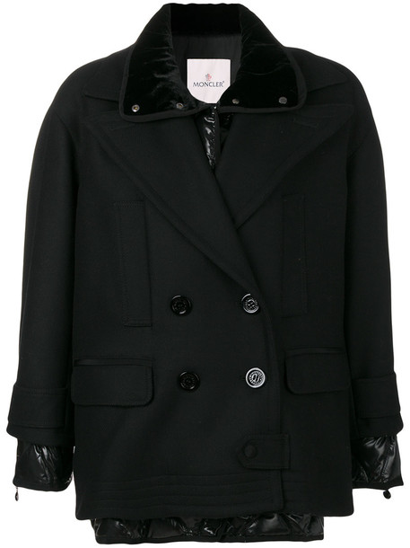 moncler jacket double breasted women black wool