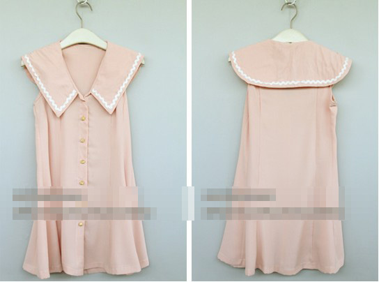 Wholesale college style single breasted dress pink
