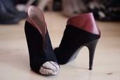shoes,black snake red high heel