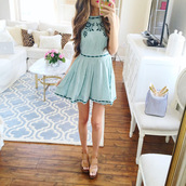southern curls and pearls,blogger,dress,shoes,green dress,blue dress,nude heels,mini dress