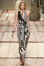dress,black and white,necklace,milan fashion week 2016,etro,romee strijd