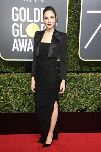 dress slit dress gal gadot strapless blazer golden globes 2018 red carpet dress