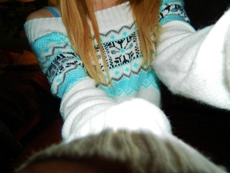 blue sweater sweater winter sweater white sweater cute winter outfits