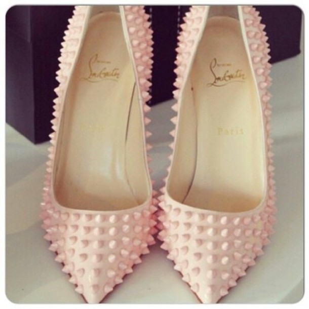 shoes spikes pink heels high heels edgy girly pointed toe heels spike louboutin light pink with light pink  spikes pinky spiky heels pink heels pointed toe pumps