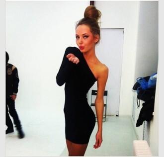 dress black one sleeve mini dress one shoulder