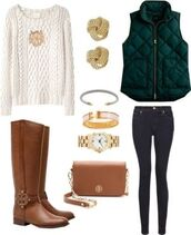 cable knit,creme,casual,jewels,forest green,brown leather boots,sweater,coat,jacket,puffy,green,classy,clothes,winter sweater,fall sweater,fall outfits,style,vest,jeans,pants,boots,brown,white,accessories,jewelry,bracelets