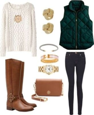 cable knit creme casual jewels forest green brown leather boots sweater coat jacket puffy green classy clothes winter sweater fall sweater fall outfits style vest jeans pants boots brown white accessories jewelry bracelets