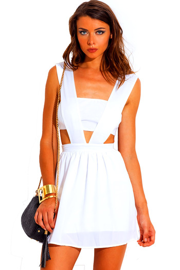All white chiffon cut out 2fer skater backless cocktail party mini dress