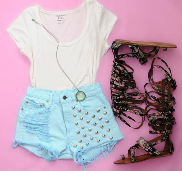 shoes shorts fashion t-shirt style sandals, aztec, tribal, summer white jewels