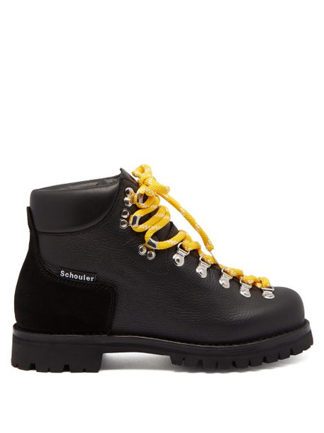 Proenza Schouler - Lace Up Leather Après Ski Boots - Womens - Black