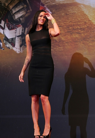 megan fox tattoo high heels black dress