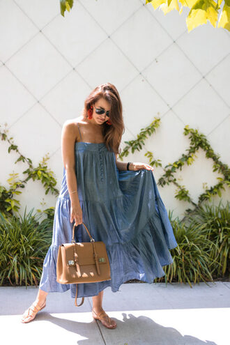dallas wardrobe // fashion & lifestyle blog // dallas - fashion & lifestyle blog blogger dress bag shoes sunglasses jewels blue dress midi dress spring outfits sandals satchel bag