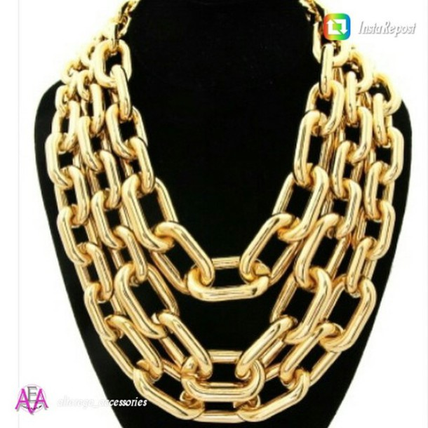 jewels gold jewelry gold link statement necklace