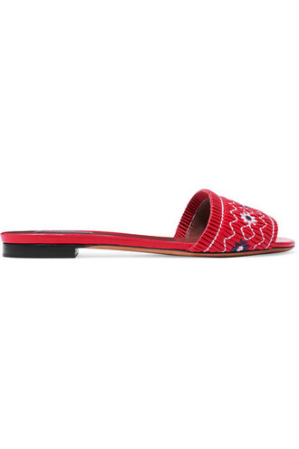 embroidered leather red shoes
