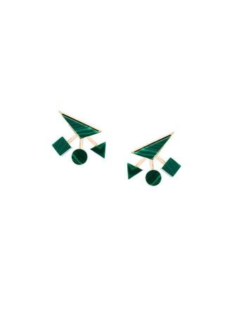 women geometric earrings green jewels