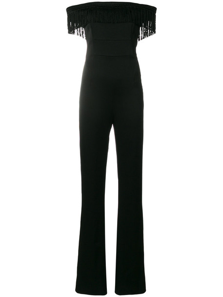 jumpsuit tassel women spandex black