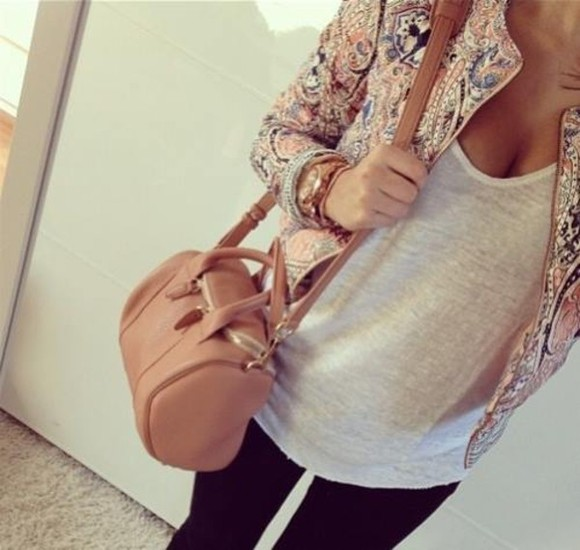 glitter jacket beige floral clothes bag