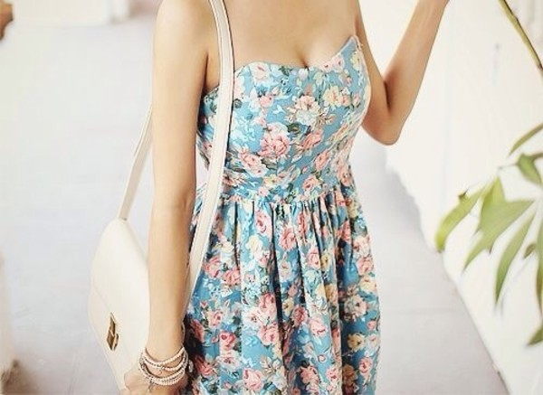 dress blue dress floral floral dress pink flowers clothes
