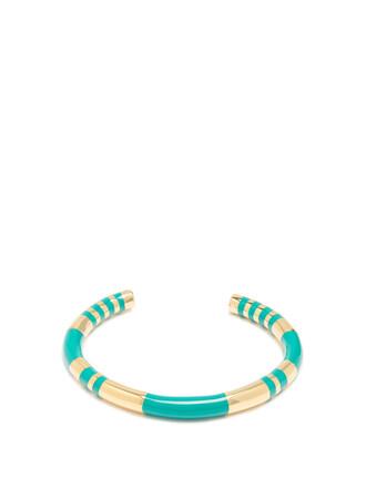 cuff gold green jewels