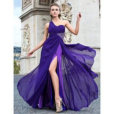 Sheath/Column One Shoulder Floor-length Chiffon Evening Dress - USD $ 117.99