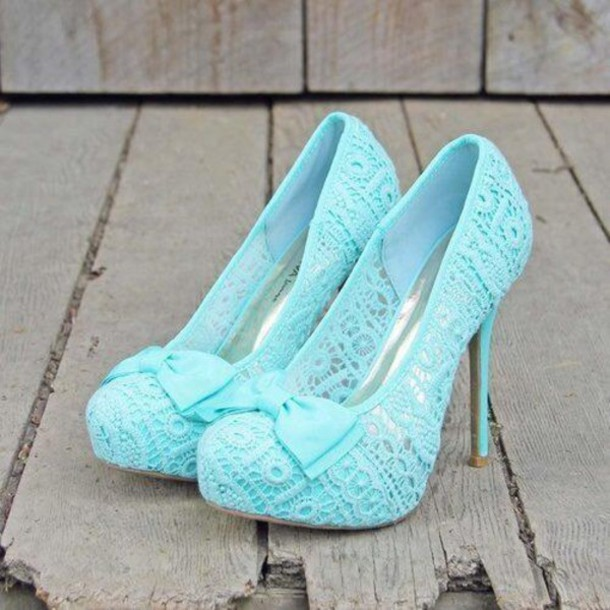 Shoes: blue, lace, lace shoes, high heels, blue high heels, lace ...