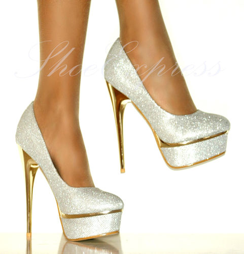 LADIES/NEW!!!/silver-white shine/gold platform and heel/HIGH HEEL SHOES SIZE 2-7   Amazing Shoes UK