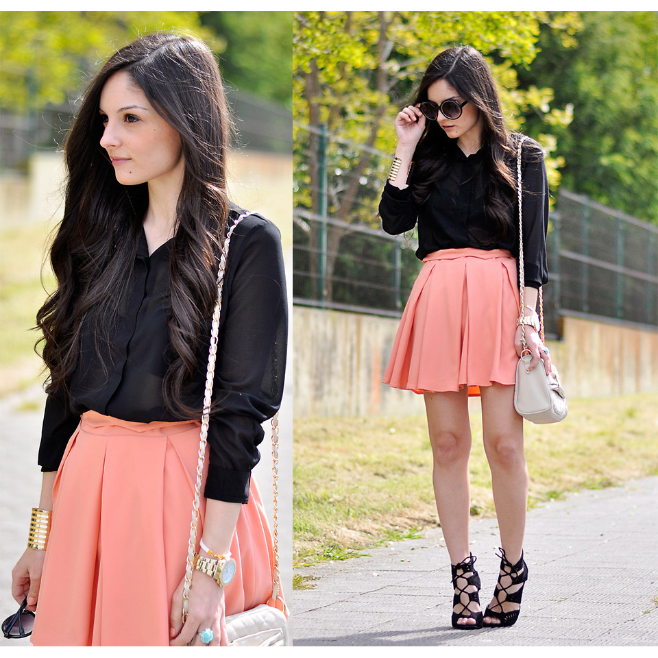 Peach Pink High Waist Pleated Skater Skirt  - Retro, Indie and Unique Fashion