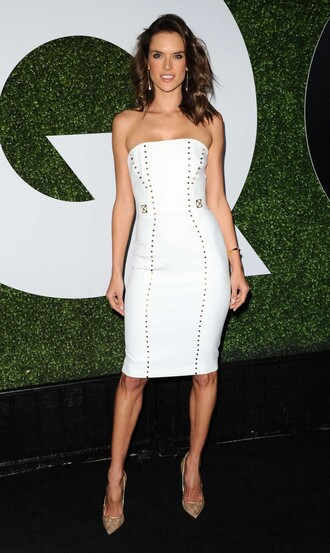 dress strapless midi dress white pumps alessandra ambrosio celebrities in white