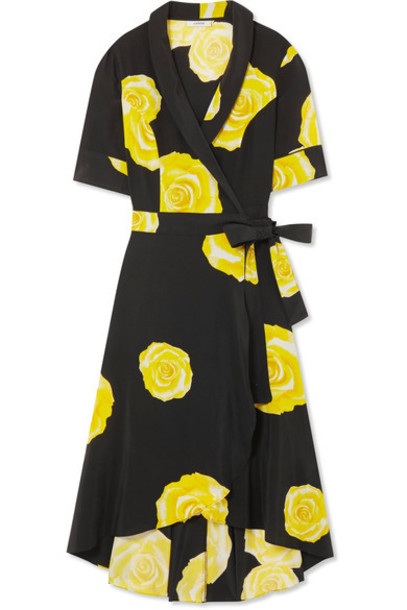 Ganni dress wrap dress floral print black silk