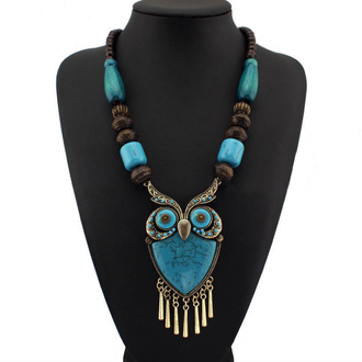 jewels owl statement necklace choker necklace huge massive pendant turquoise