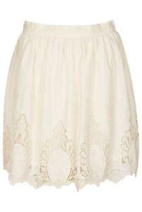 New TOPSHOP Cream Lace Cut Out Skater Skirt 10 Cotton Crochet   eBay
