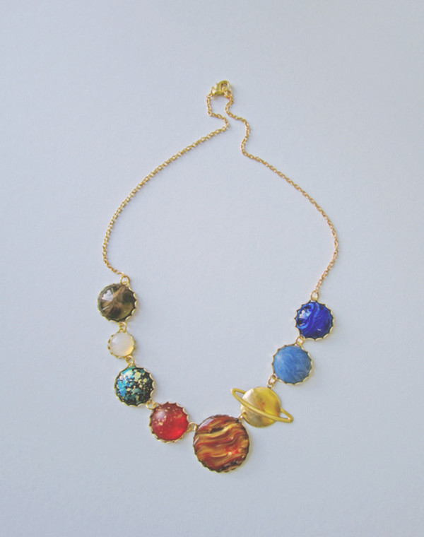 jewels necklace gold planets jewelry