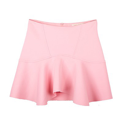Colored asymmetric hem ruffled skirt above knee pink