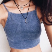jewels,necklace,grunge,grunge jewelry,top,crop tops,velvet,velvet top,tank top,grey,shirt,blue,clothes,tumblr,cropped,jewelry,halter neck,90s style,hipster,vintage,halter top