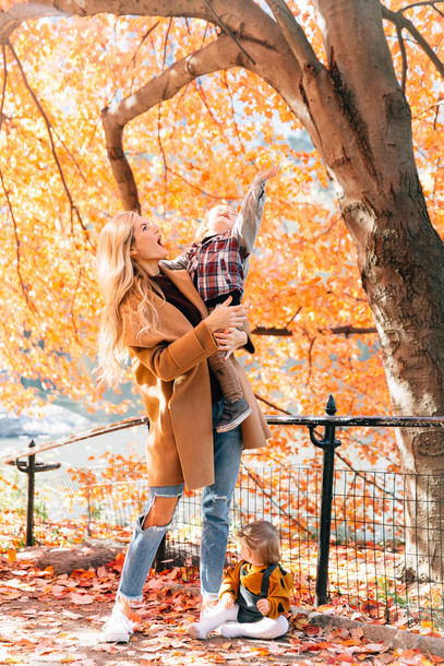 35b83f385 barefoot blonde blogger coat jeans shoes sweater fall outfits camel coat  mother and child ripped jeans