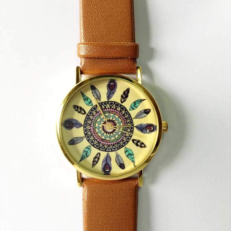 Dream Catcher Watch, Vintage Style Leather Watch, Women Watches, Unisex Watch, Boyfriend Watch, Tan from FREEFORME on Storenvy