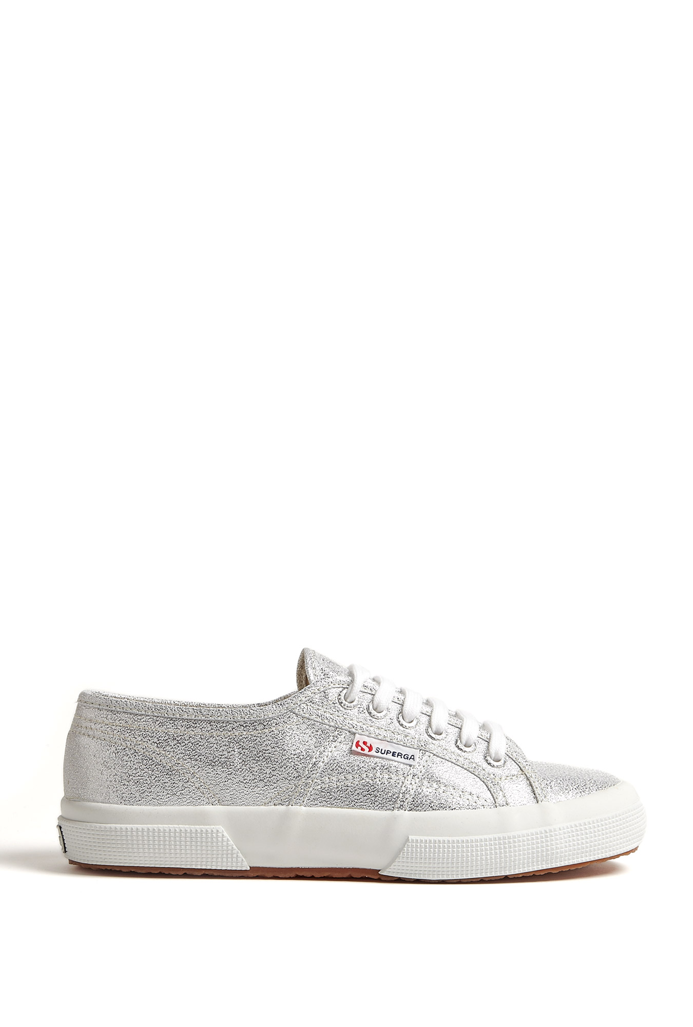 Silver metallic lace up pump by superga