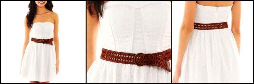 Stylish Gorgeous White Strapless Lace Eyelet Dress Brown Belted Sexy Fashion | eBay